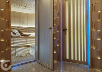 Luxury yacth sauna and steam room