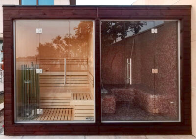 Outdoor sauna and steam room