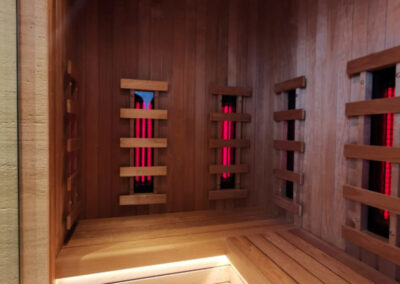Combined cabin with infrared sauna and shower