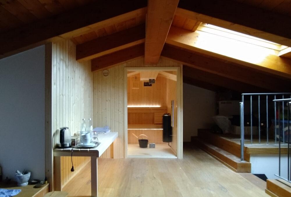 Tailor made sauna under roof