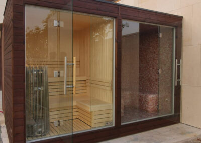 outside sauna and steam room
