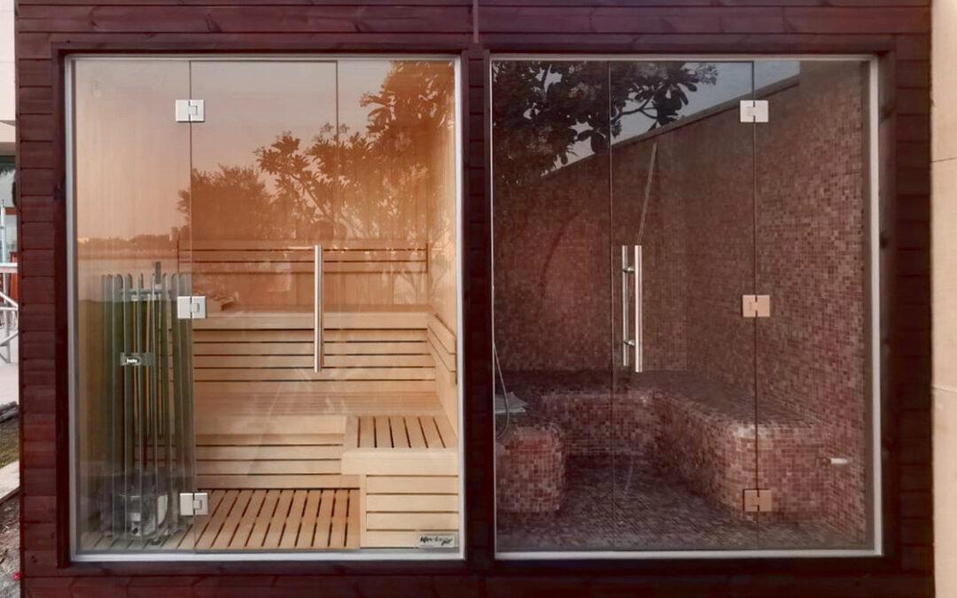 Outdoor sauna and steam room