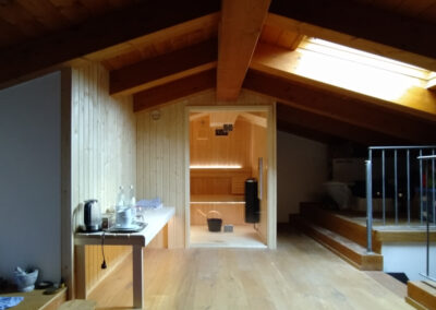 Tailor made sauna under roof